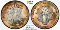 1986 PCGS MINT STATE 68 AMERICAN SILVER EAGLE EX PCI WITH TRUEVIEW AND  TONING