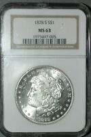 1878-S MORGAN SILVER DOLLAR NGC MINT STATE 63, WHITE,  STRICK
