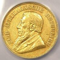 1895 SOUTH AFRICA ZAR POND 1P KM-10.2 - ANACS AU50 DETAILS -  DATE COIN