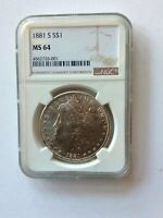 1881 S MORGAN SILVER DOLLAR NGC MINT STATE 64