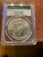 2015 P $1 SILVER EAGLE STRUCK AT PHILADELPHIA PCGS MINT STATE 69 TOTAL MINTAGE: 79,640