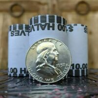 UNCIRCULATED 90  SILVER FRANKLIN COIN AND  $10 HALF DOLLAR BANK ROLL