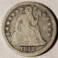 1852 SEATED LIBERTY DIME-GOOD FREE US SHIPPING-G