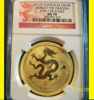 2012 AUSTRALIA CHINESE LUNAR YEAR OF THE DRAGON NGC MS 70 ER 1 OZ 9999 GOLD