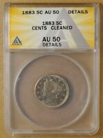 1883 V NICKEL WITH CENTS ANACS AU 50 DETAILS