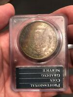 1882 PCGS MINT STATE 63 MORGAN DOLLAR RATTLER WITH RAINBOW REVERSE AND CAC APPROVAL