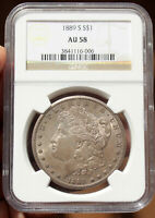 1889-S MORGAN SILVER DOLLAR NGC AU58. EVENLY TONED KEY DATE.