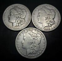 3 R COINS 1878 S, 1879 S AND 1890 SILVER MORGAN $1 DOLLAR C.C.C. LISTING
