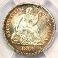 1869 SEATED LIBERTY HALF DIME H10C - CERTIFIED PCGS AU DETAILS -  DATE
