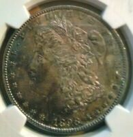 1898 SILVER MORGAN DOLLAR BU NGC MINT STATE 63 COLOR TONED WITH LUSTER MUST HAVE
