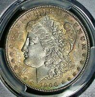 1900 MORGAN SILVER DOLLAR PCGS MINT STATE 64 BU UNC TONED OBVERSE WITH  LUSTER
