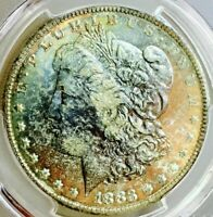 1883 MORGAN DOLLAR PCGS MINT STATE 63 MOST INSANE COLOR COMBO SO PQWOW$$$NR DR