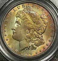 1890 MORGAN SILVER DOLLAR PCGS MINT STATE 62 BU COLOR TONED GEM IN HIGH GRADE