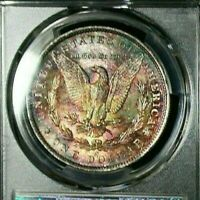 1885 O PCGS MINT STATE 62 COLORFUL REVERSE MONSTER TONED MORGAN SILVER DOLLAR DR