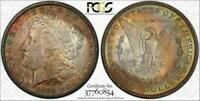 1882 MORGAN SILVER DOLLAR BU PCGS MINT STATE 64 MULTI COLOR TONED GEM IN HIGH GRADE