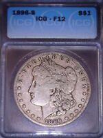 1896-S MORGAN SILVER DOLLAR, ICG  F12, TOUGH  DATE ,ISSUE FREE