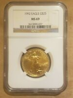1992 AMERICAN GOLD HALF EAGLE $25 COIN NGC MS 69 UNC HALF OUNCE AGE 1/2
