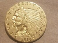 1914 P $2.50 GOLD INDIAN HEAD QUARTER EAGLE COIN 2 1/2 DOLLAR NICE
