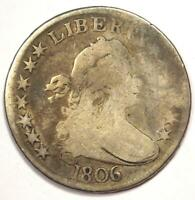 1806 DRAPED BUST HALF DOLLAR 50C - VG DETAILS CONDITION -  EARLY COIN