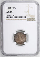 1814 CAPPED BUST 10C NGC MINT STATE 65