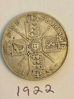 1922 GREAT BRITAIN SILVER ONE FLORIN TWO SHILLINGS COIN GEOR