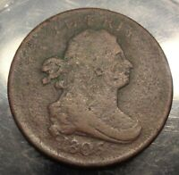 VF DETAILS 1805 SMALL 5, STEMLESS WREATH DRAPED BUST US COPPER 1/2 C HALF CENT