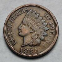 1889 INDIAN HEAD PENNY. ERROR STRUCK THROUGH. HISTORICAL UNITED STATES COIN.