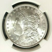 1887 VAM 12 NGC MINT STATE 63 MORGAN SILVER DOLLARGENE L HENRY LEGACY COLLECTION REF65