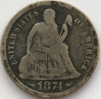 1874 S SEATED LIBERTY DIME.