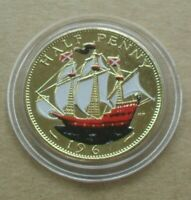 FREE P&P 1967 U.K 1/2 PENNY GREAT BRITAIN HISTORIC COINS GOLD PLATED & ENAMEL