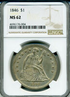 1846 SEATED LIBERTY SILVER DOLLAR $1 NGC MS62