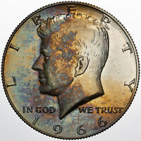 1966-P KENNEDY HALF DOLLAR SILVER SMS PROOF COLOR UNC STRIKING GREEN TONED DR