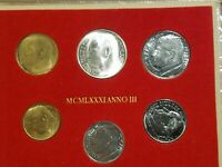 1981 VATICAN CITY SIX COIN MINT SET WITH 500 LIRE SILVER COIN UNC IN FOLDER