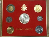 1991 VATICAN CITY SEVEN COIN MINT SET INC. 1000 LIRE SILVER COIN JOHN PAUL II