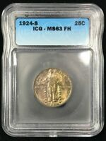 1924-S STANDING LIBERTY QUARTER - ICG MINT STATE 63 FH - FULL HEAD