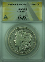 1895-S MORGAN SILVER DOLLAR $1 COIN ANACS VG-10 DETAILS CLEANED 28