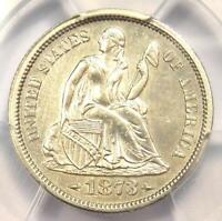 1873-S ARROWS SEATED LIBERTY DIME 10C COIN - PCGS UNCIRCULATED DETAILS UNC MS