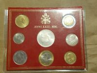 2001 VATICAN CITY EIGHT COIN MINT SET INC. 1000 LIRE SILVER COIN JOHN PAUL II
