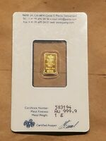 PAMP SUISSE 999.9 PURE 1 GRAM GOLD BAR INGOT SEALED IN ASSAY CARD 1 G AG