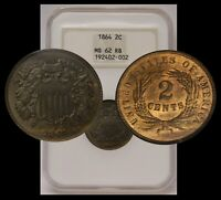 1864 TWO CENT LARGE MOTTO NGC MINT STATE 62 RB OLD HOLDER FATTY GEN 4 PQ BEAUTY