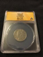 1883 V NICKEL WITH CENTS ANACS AU-55 DETAILS - BETTER DATE - CERTIFIED SLAB - 5C