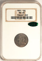 1801 DRAPED BUST 10C NGC MINT STATE 65