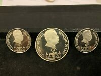 ORIGINAL 3 COIN 1975 SILVER LAOS PROOF SET W/CASE