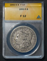 1892-S MORGAN SILVER DOLLAR   MORGAN GRADED F12