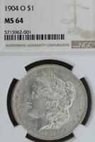 1904 O MORGAN SILVER DOLLAR NGC MINT STATE 64  DOUBLEJCOINS 3009-34
