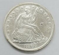1868 S US SEATED LIBERTY HALF DOLLAR 50C SILVER COIN AMAZING