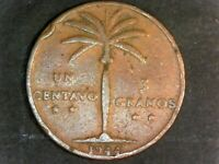 1944 DOMINICAN REPUBLIC 1 CENTAVO COIN VG L1 005