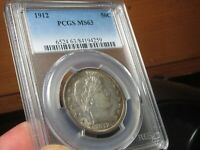 TOUGH TO FIND BARBER HALF DOLLAR  PCGS  MS 63 1912 P  ONLY 167 BETTER @ PCGS