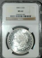 1885-S MORGAN SILVER DOLLAR NGC, MINT STATE 62 ,