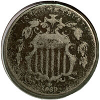 1869 SHIELD NICKEL 5 CENT US COIN SI76